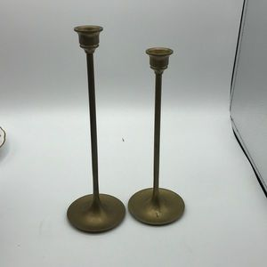 Set of 2 brass candlestick holders vintage